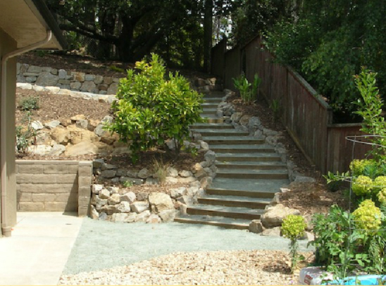 AFTER: Landscape timber steps providing a pathway into the previously inaccessible hillside.