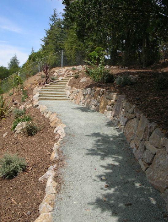 AFTER: The new pathway, made possible by terracing with stone walls.